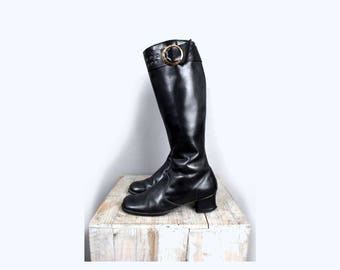 1960's Black Leather MOD Buckle Boots - Size 8