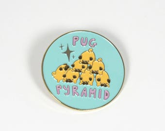 "Pug Pyramid Enamel Pin - 1.5"" Cute Enamel Pin with Rubber Butterfly Pinback"