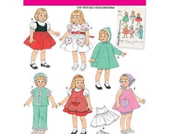 """Doll Wardrobe Pattern for 16"""" and 18"""" Doll - Simplicity 2454"""