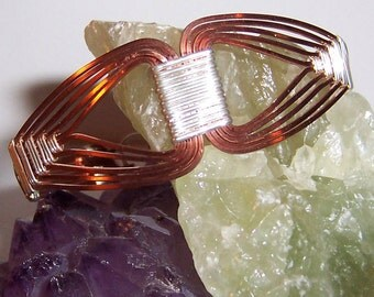 """Handwoven """"Nefertiti Style"""" Egyptian Copper and Silver Wire Wrapped Cuff Bracelet"""