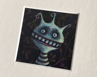 """NEW MINIATURE! """"Vera Whethervein"""", original miniature mixed media 2"""" x 2"""" matted to 6x6"""" monster, silly, blue guy, illustration, painting"""