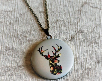 Stag's Head Locket Necklace, Deer Necklace, Woodland Jewelry, Stag Locket, Deer Pendant