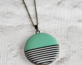 Geometric Locket Necklace, Mint Green Striped Necklace, Statement Jewelry