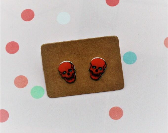 Skull Earrings, Teeny Tiny Earrings, Halloween Jewelry, Cute Earrings