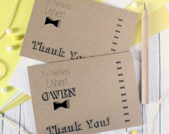 Usher Thank You Card. Usher Card. Handmade Wedding Card. Bow Tie Card. Thanks for Being My Usher. Best Usher. Wedding Day card. Bow Tie