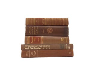 Chocolate Brown Book Set, Gold Gilt Book Spine Book Stack, Antique Distressed Books, Vintage Books, Book Decor, Instant Library, Shelf Decor