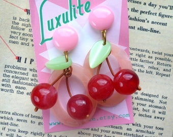 New Oval Cherry hoops! Bakelite Fakelite inspired drop hoop earrings in peachy pink- handmade 1940s 50's style by Luxulite