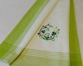 Shamrock Towel - Cotton Hand Towel - Embroidered Towel- St. Patrick's Day Towel, Irish Towel, Celtic Towel (Shamrock Wreath)