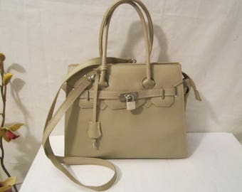 Leather bag, Kelly style bag made in Italy, Leather handbag, Leather shoulderbag
