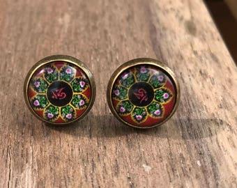 Flower earrings, mandala earrings, post earrings, stud earrings, yoga, zen, boho jewelry, flower stud earrings,