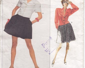 Vintage Pattern Vogue 2088 Karl Lagerfeld Top & Shorts 80s Size14 B36