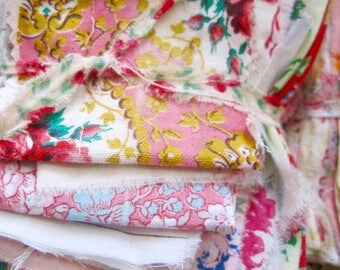 Vintage Fabric Bundle, French Fabric, Faded Florals, French Florals, Antique Lace, Quilting, Fairy Dresses, Mixed Media, Sewing, Fabric
