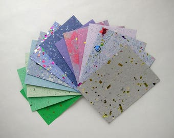 """14 sheets beautiful handmade paper  4 1/2"""" x 6 1/4"""" // unique texture glitter, homemade papers // crafting mixed media// purple, blue, green"""