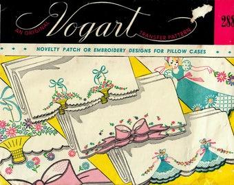 1950s Vogart 288 UNCUT Vintage Transfer Pattern Novelty Applique & Embroidered Motifs for Pillowcases Baskets, Flowers, Sunbonnet Sue, Bows