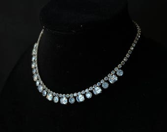 WEISS Delicate Light Blue Rhinestone Necklace