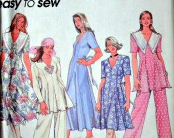 Simplicity 8866 Sewing Pattern, Misses Women's Dress In Two Lengths Or Tunic & Pull-On Pants, Size 12-14-16, Bust 34-36-38, Uncut FF, Easy