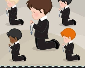 First Communion Clipart for Boys. Characters, graphics, praying boys, holy, Invitations, planner, stickers, religious, illustration, suit