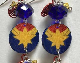 Captain Marvel Dangle Earrings