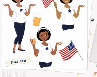 Independence Day woman clipart, July 4th celebration graphics, girl beer party, flag, 4th of july, african american skin tones (Neve L272)