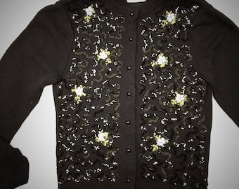 Vintage 1950s 50s Black Sequined Sweater Cardigan 100% Orlon Acrylic with Embroidered Blue Green Flowers Mid Century Womens Cardigan