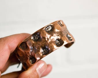 """small, recycled, copper cuff, 1"""", cuff, copper jewelry, recycled, hammered metal, hammered copper, copper bracelet, stacylynnc, handmade"""