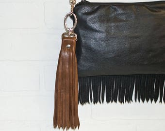 """10"""", brown leather tassel, leather bag charm, recycled leather, leather fringe, tassel keychain, upcycled, brown fringe, stacylynnc"""