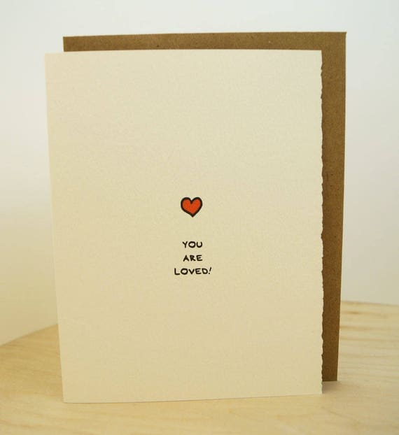 You Are Loved. Love card, greeting card Cute adorable Valentine heart Valentine's Day paper made in Canada Toronto feelings