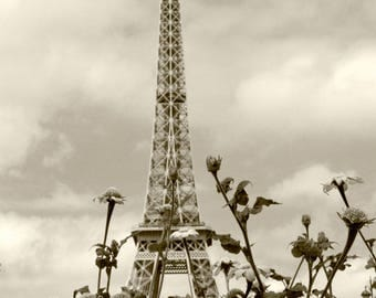 Eiffel Tower Wall Art Paris Photography Print French Architecture Sepia
