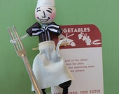 Vintage Style - Spun Head Chef with Fork, Vegetable Recipe Divider