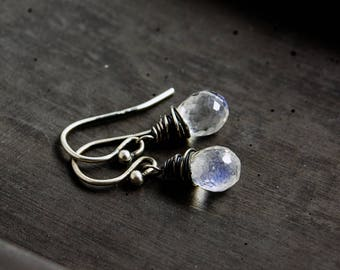 Moonstone Earrings, Moonstone Jewelry, Crystal Drop Earrings,