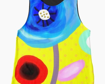 Contrast Tank - Yellow Polka dots and Poppy
