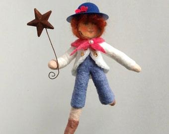 Spun Cotton Ornament, Cotton batting doll, Americana boy, Plumpuppets