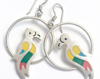 Vintage Silver Parrot Earrings, Rainbow Mosaic Silver Parrot Bird Earrings, Mexican 925 Silver Earrings, Dangling Hoop Parrot Earrings,