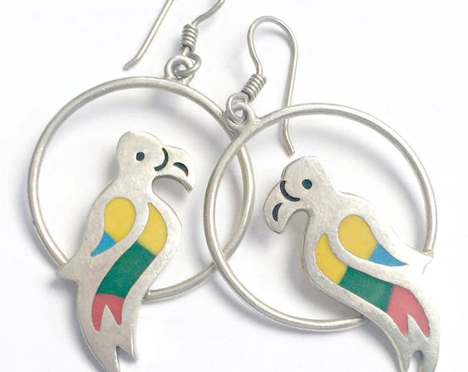 Vintage Silver Parrot Earrings, Rainbow Mosaic Silver Parrot Bird Earrings, Mexican 925 Silver Earrings, Dangling Hoop Parrot Earrings,