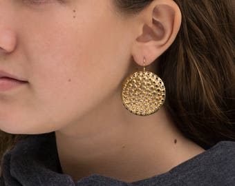 Gold perforated earrings, 22k bimetal, solid 18k hooks, round, 38mm
