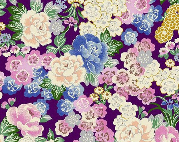 Quilt Gate Floral quilting kimono cotton - Hyakka Ryoran Tori QG3150-13D Purple, silver metallic fabric