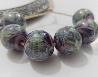 Lampwork Beads, Handmade Glass Beads, Round Purple 12mm Lampwork Beads
