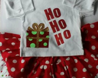 Girls Christmas Boutique Toddler Girls Twirly Skirt, toddler girls ho ho ho,  2pc Set Boutique Custom 2t 3t 4t 5t girls twirl skirt & top