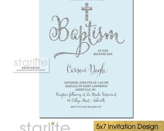 Baptism Invitation Boy, Blue and Silver Glitter Baptism Invitation, Boy Christening Invitation, Dedication, Blessing, Printed, Printable