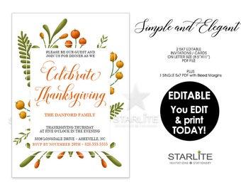 Thanksgiving Invitation, Thanksgiving Invitation INSTANT DOWNLOAD, Thanksgiving Invitation EDITABLE Pdf, Thanksgiving Invite Pdf Download