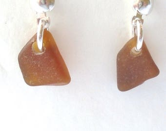 Amber Single Drop Stud Earrings on Sterling Silver