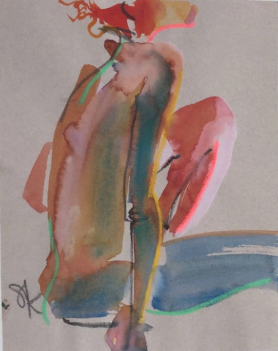 Nude #1509- original watercolor painting by Gretchen Kelly