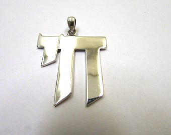 Extra Large Chai Pendant 925 Sterling Silver Modern and Elegant Charm Hebrew Letters Judaica Jewish Jewelry