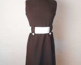 vintage MOD 60's Belted Sleeveless Shift Dress - GO GO! 34 26 36 Small Size