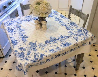 Vintage Tablecloth Victorian Blue & White Picnic in the Park