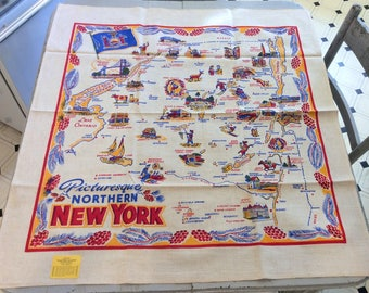 Vintage Souvenir Tablecloth Northern New York Rare MWT