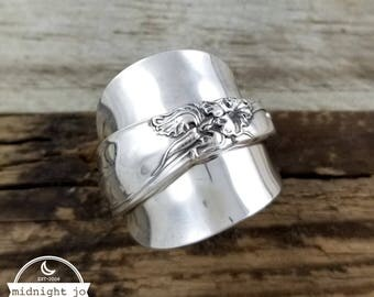 Demitasse Spoon Ring - White Orchid Spoon Ring - Silver Spoon Ring - Whole Spoon Ring- Vintage Spoon Ring- Floral Spoon Ring- Spoon Jewelry