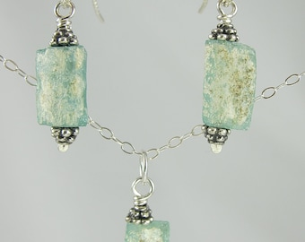 sea foam green ancient Roman glass sterling silver necklace and earrings set FREE SHIPPING OOAK