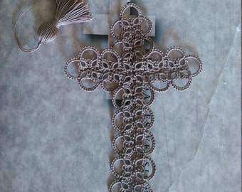 Cross Bookmark Tatted Natural Dark Tan Brown Lace Tatting