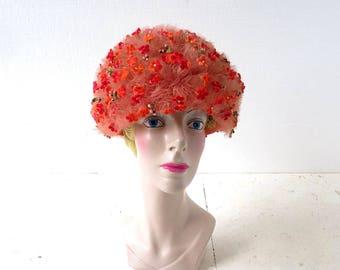 Jack McConnell Hat   Floral Bubble Hat   Vintage 1960s Hat   OOAK